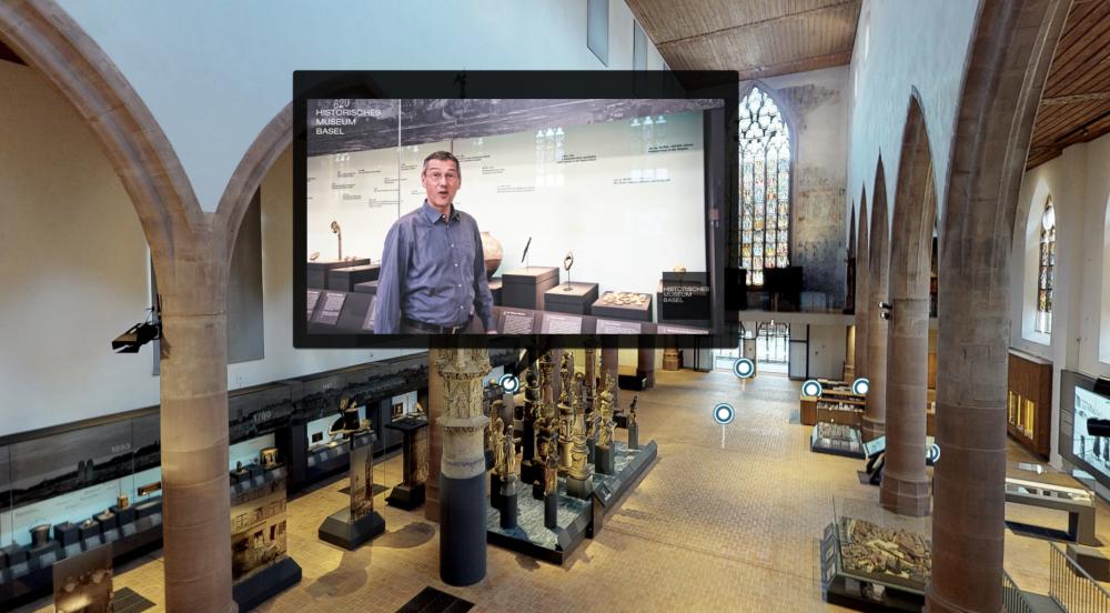 Beispiel einer virtuellen Führung zu verschiedenen Ausstellungsstücken im Historischen Museum Basel.