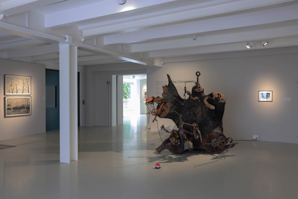 Exhibition view, Tree Connections, 2021. Jean Tinguely's L'Ours de Bursinel, 1990.