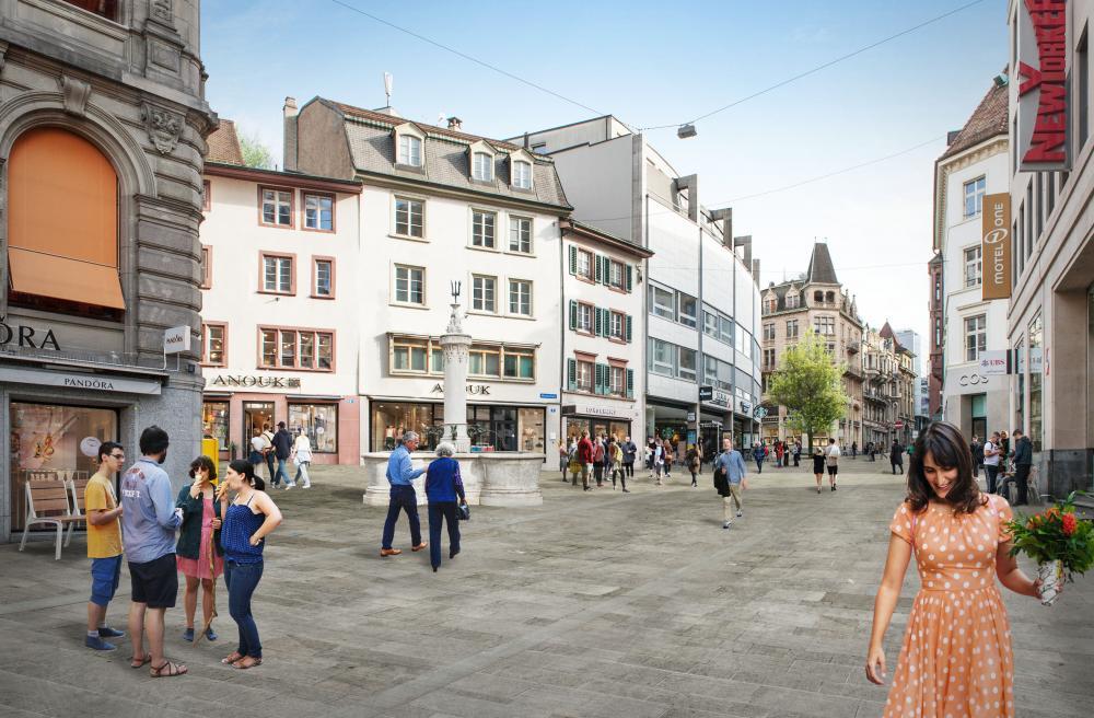 Visualisierung der zukünftigen Flaniermeile Freie Strasse.